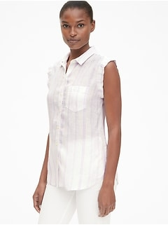 Sleeveless Button-Front Shirt in Linen