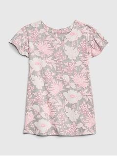 Baby Print Flutter Sleeve Dress