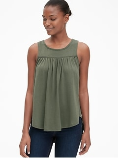 Shirred Hi-Lo Tank Top