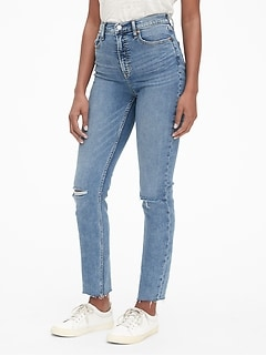 High Rise Cigarette Ankle Jeans with Secret Smoothing Pockets