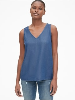 Sleeveless V-Neck Top in TENCEL™
