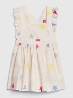 Print Apron Flutter Dress