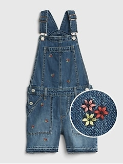 Kids Superdenim Floral Embroidered Shortalls