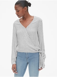 Stripe Long Sleeve Wrap Blouse