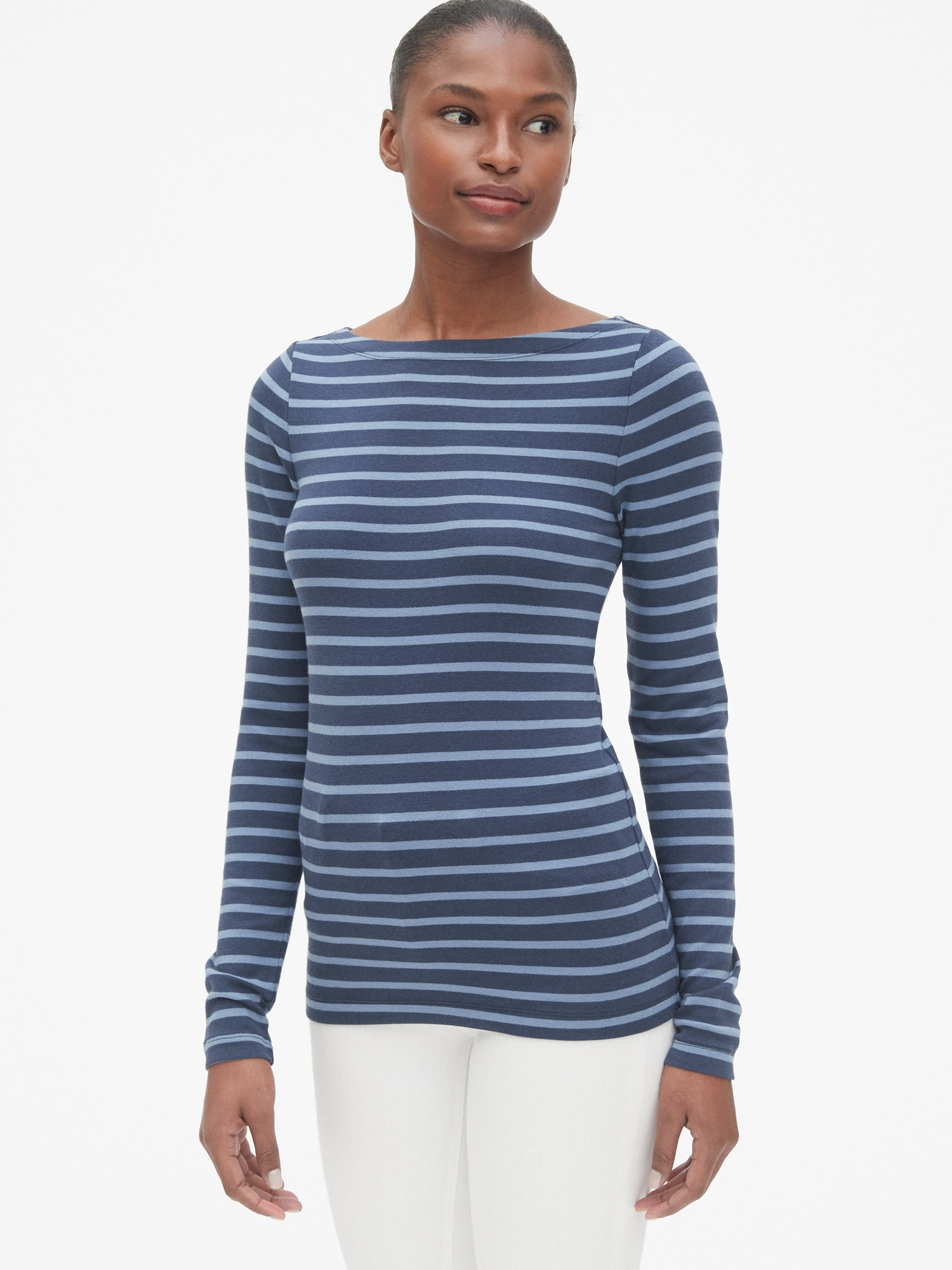 496303b2a63 Modern Stripe Long Sleeve Boatneck T-Shirt