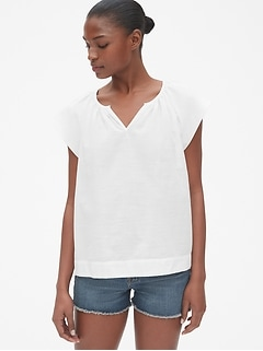 Flutter Sleeve Split-Neck Top