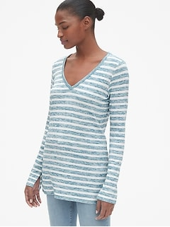 Softspun Stripe Long Sleeve V-Neck Top