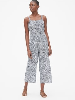 Floral Square-Neck Cami Wide-Leg Jumpsuit