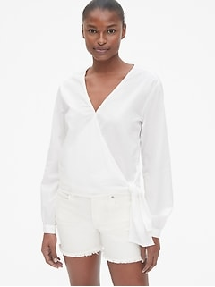 Long Sleeve Wrap Blouse in Poplin