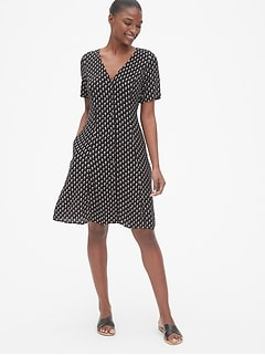 Short Sleeve Button-Front Dress