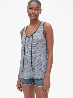 Softspun Stripe Tie-Neck Tank Top
