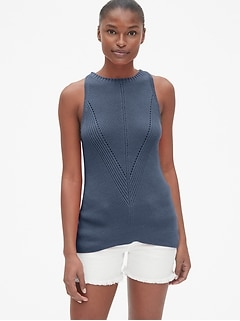 Directional Ribbed Sweater Tank Top