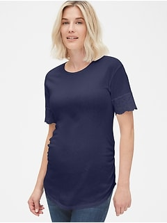 Maternity Crewneck T-Shirt with Eyelet Embroidered Cuffs