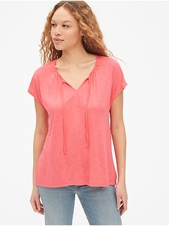 Soft Slub Tie-Neck Top