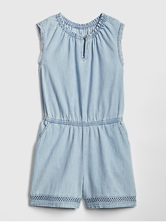 Kids Denim Lace-Trim Romper
