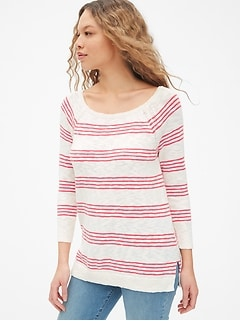 Boatneck Sweater in Slub Cotton