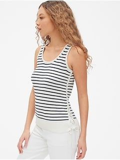 Lace-Up Stripe Sweater Tank Top