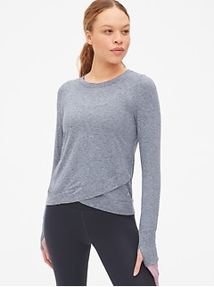 3c24e6e69c GapFit Long Sleeve Tulip-Front Top in Brushed Tech Jersey