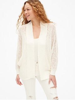 Open-Stitch Cocoon Cardigan Sweater