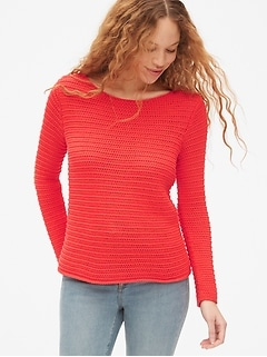 Open-Stitch Boatneck Sweater