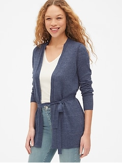 Longline Cardigan Sweater in Linen-Blend