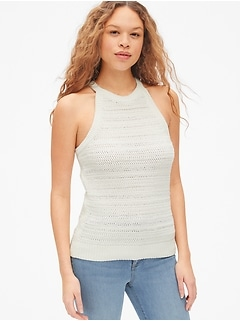 High-Neck Sweater Tank Top