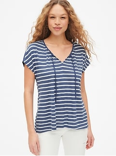 Soft Slub Stripe Tie-Neck Top