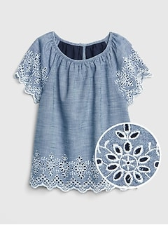 Kids Chambray Eyelet Top