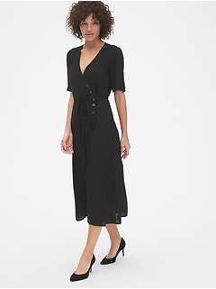 Short Sleeve Side-Button Midi Wrap Dress