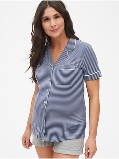 Maternity Button-Front Sleep Top in Modal