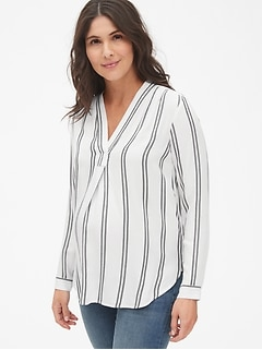 Maternity Stripe V-Neck Popover Shirt