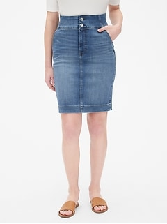 2fa056e3ea3f High Rise Double-Button Denim Pencil Skirt