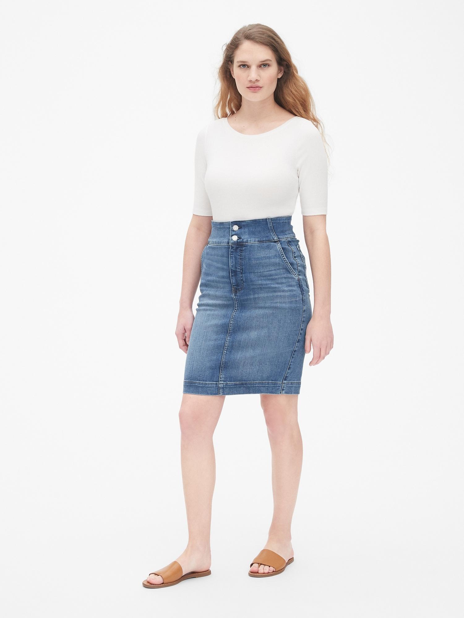 4048325d7e High Rise Double-Button Denim Pencil Skirt | Gap