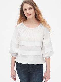 Tiered Pleated Blouson Sleeve Top