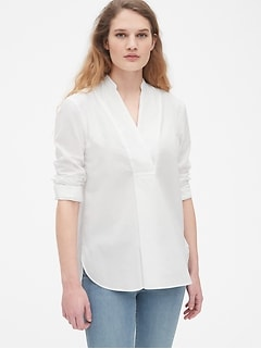 V-Neck Popover Tunic Shirt