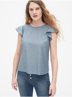 Flutter Sleeve Top in Chambray