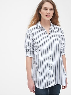 Stripe Boyfriend Shirt in Poplin