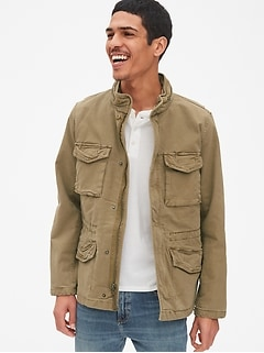 Military Jacket with Hidden Hood