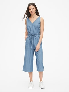 Sleeveless Tie-Waist Wide-Leg Jumpsuit in TENCEL™