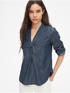 V-Neck Popover Tunic Shirt in TENCEL™