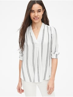 Stripe Popover V-Neck Tunic Shirt