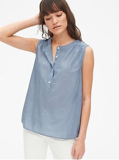 Sleeveless Popover Shirt in Chambray