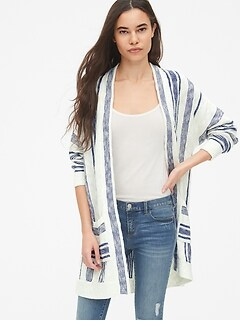 85ca9ee02d5 Stripe Slub Blanket Cardigan Sweater