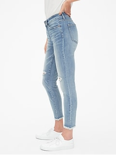 Mid Rise Curvy True Skinny Ankle Jeans with Distressed Detail