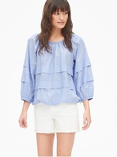 Tiered Pleated Blouson Sleeve Top in Chambray