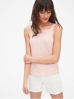 Softspun Square-Neck Tie-Back Tank Top