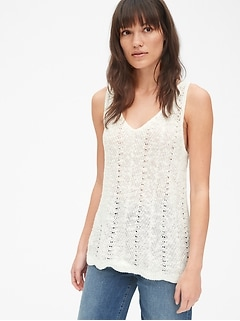 V-Neck Sweater Tank Top in Linen-Cotton
