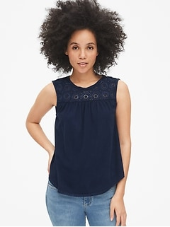 Embroidered Eyelet Insert Top