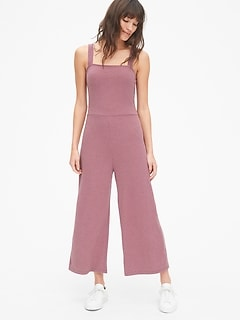 Ribbed Square-Neck Wide-Leg Jumpsuit