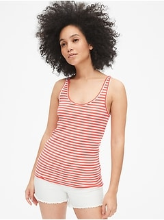 Flat Back Rib Stripe Tank Top